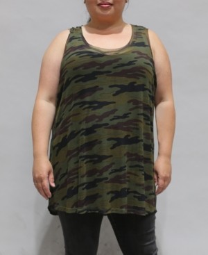 Coin 1804 Women's Plus Size Camouflage Mesh Basic Tank Top