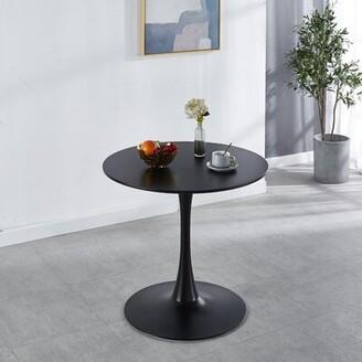 "Wrought StudioTM Pacey Pedestal Dining Table Wrought Studio Color: Black, Size: 42.12"" L x 42.12"" W"