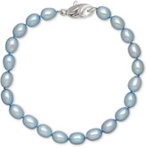 Honora Style Sky Blue Cultured Freshwater Pearl Bracelet in Sterling Silver (7-8mm)