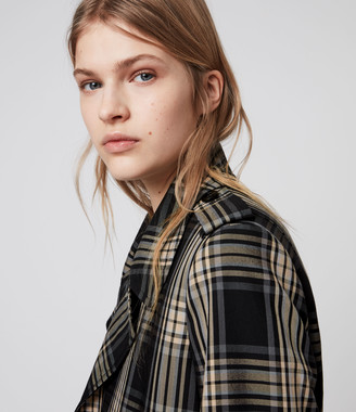 AllSaints Chiara Check Trench Coat