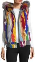 Jocelyn Zip-Front Hooded Fur Vest, Multi