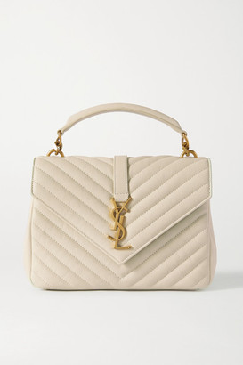 Saint Laurent College Medium Quilted Leather Tote - Off-white