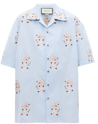 Gucci Pig-embroidered Cotton-poplin Shirt - Blue Multi