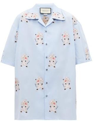 Gucci Pig-embroidered Cotton-poplin Shirt - Mens - Blue Multi