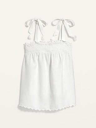 Old Navy Sleeveless Smocked Linen-Blend Swing Top for Women