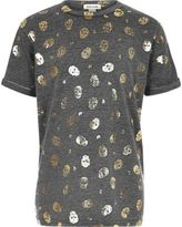 River Island Girls grey metallic skull print T-shirt