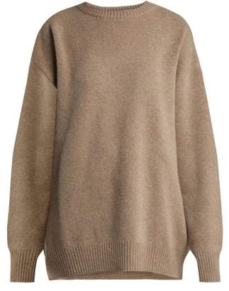 Raey Displaced Sleeve Round Neck Wool Sweater - Womens - Grey