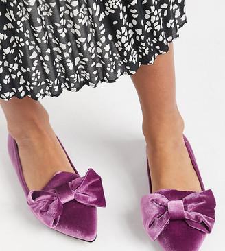 ASOS DESIGN Wide Fit Lake bow pointed ballet flats in purple velvet