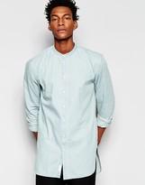 Minimum Bleach Denim Shirt Grandad Collar