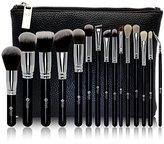 FEIYAN Makeup Brush Set Premium Natural Goat Hair Synthetic Cosmetic Professional Kabuki Makeup Foundation Blush Eyeshadow Concealer Powder Brushes Kit with Case (15 pcs, Silver Black )