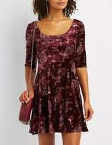 Charlotte Russe Printed Velvet Skater Dress