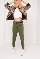 Missguided Lace Up Waistband Cropped Joggers Khaki