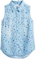 Epic Threads Star-Print Sleeveless Denim Shirt, Big Girls (7-16), Only at Macy's