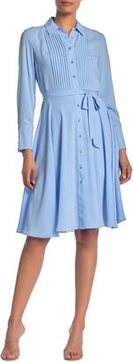 Nanette Lepore Long Sleeve Pintuck Shirtdress