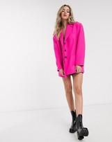 Asos Design DESIGN extreme dad blazer in hot pink