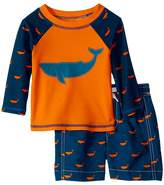 Hatley Tiny Whales Mini Swim Trunks Rashguard Set Boy's Swimwear Sets