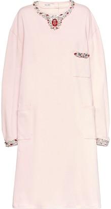 Miu Miu Embellished Denim Shift Dress