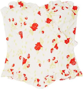 De La Vali Dolly Ruffled Floral-print Cotton-blend Poplin Bustier Top