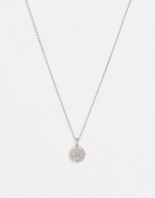 Craftd stainless steel compass neck chain in silver