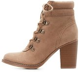 Charlotte Russe Faux Suede Lace-Up Ankle Booties