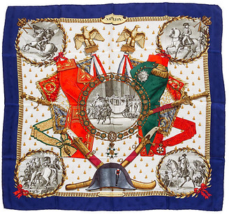 One Kings Lane Vintage Hermes Collectible Blue Napoleon Scarf - Vintage Lux