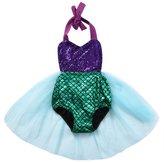 honeys Newborn Baby Girls Mermaid Sequins Backless Halter Romper Party Dress Swimsuit (18-24months, )