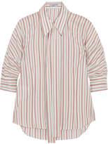 Prada Pussy-bow Striped Silk Shirt