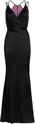 Talbot Runhof Sleeveless Satin Cross-Strap Gown