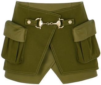 Balmain Army green wrap-effect twill mini skirt