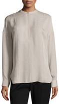 Vince Long-Sleeve Embroidered Stretch-Silk Blouse, Taupe