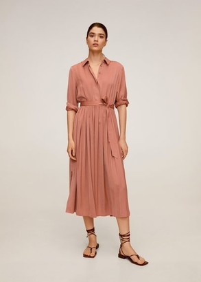 MANGO Satin shirt dress pink - 2 - Women