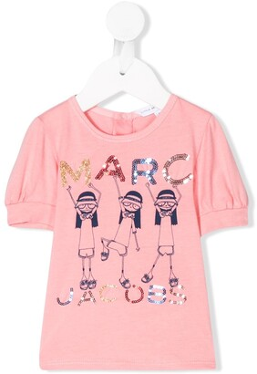 Little Marc Jacobs sequin logo embellished T-shirt