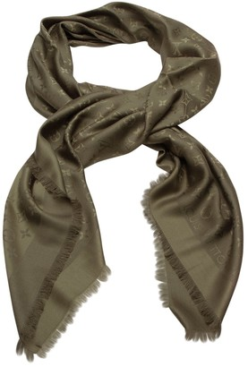 Louis Vuitton Chale Monogram Green Cotton Scarves