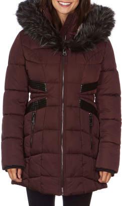Nicole Miller Outerwear Heavy Weight Coat W/ Large Faux-Fur Hood