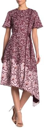 Ted Baker Indigoo Floral Asymmetrical Hem Midi Dress