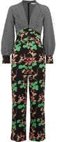 RIXO London - Leah Printed Silk And Silk-jacquard Jumpsuit - Black