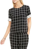 Vince Camuto Women's Contrast Cuff Windowpane Blouse