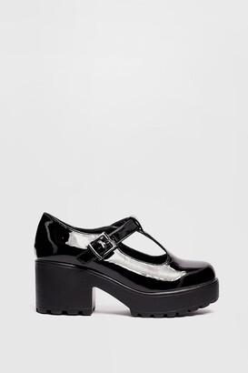 Nasty Gal Womens Sweet Mary Jane Patent Chunky T-Bar Shoes - Black - 5, Black