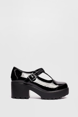 Nasty Gal Womens Sweet Mary Jane Patent Chunky T-Bar Shoes - Black