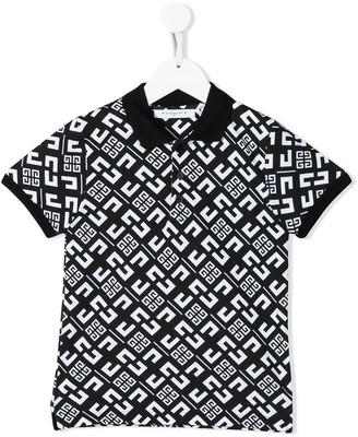 Givenchy Kids Short Sleeve Monogram Print Polo Shirt