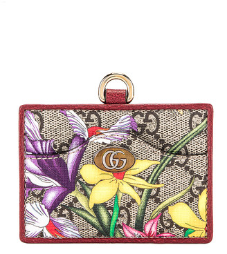 Gucci Floral Card Case in Beige Ebony & Red | FWRD