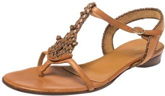 Fendi Brown Leather T Strap Flat Sandals Size 41