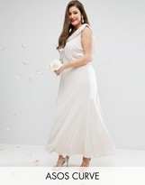Asos WEDDING Slinky Drape Front Maxi Dress