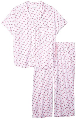 Karen Neuburger Plus Size Garden Rosa Short Sleeve Girlfriend Capris PJ (Floral Roseate Spoonbill) Women's Pajama Sets