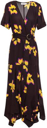 A.L.C. Floral-print Silk-crepe Wrap Dress