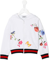 MonnaLisa hooded jacket - kids - Cotton/Spandex/Elastane/Crystal - 4 yrs
