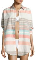 Letarte Stripe Button-Down Beach Shirt, Multicolor
