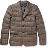 Etro Slim-Fit Leather-Trimmed Checked Silk and Wool-Blend Down Jacket