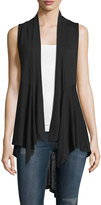 Neiman Marcus Draped Open-Front Vest, Black