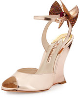 Sophia Webster Rizzo Bow Metallic Wedge Sandal, Rose Gold